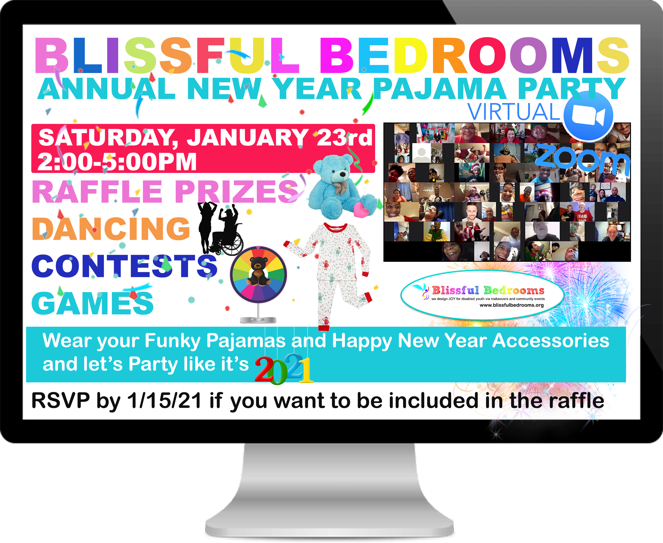 BB NEW YEAR PAJAMA PARTY ZOOM 2021 FLYER