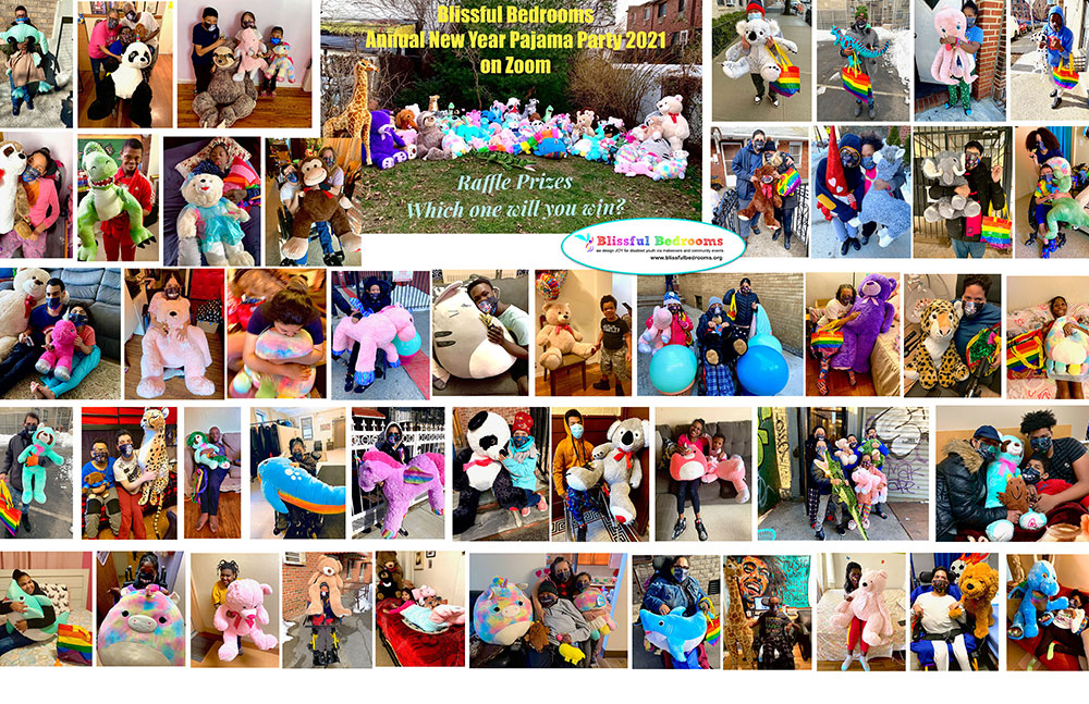 Stuffed-Animal-Raffle-Prize-Delivery-Collage-New-Year-Pajama-Party-on-Zoom-2021